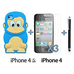 Monkey Style 3D Silicon For Ipod Touch 4 Case CoverLight Blue with 3 Screen Protectors and Stylus