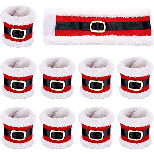 Santa Napkin Ring - Leinuosen 10 Pieces Christmas Napkin Rings Holders Napkin Band with Santa Belt Design for Party Dinner Table Decoration