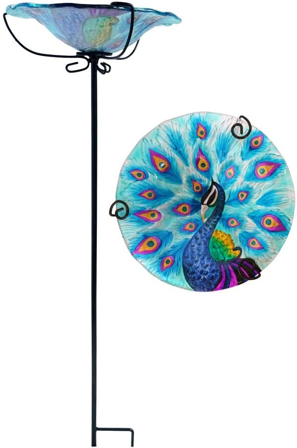 """Comfy Hour 28"""" Peacock Glass Top Birdbath Birdfeeder Metal Art Garden Stake"""