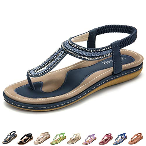 gracosy Women's Flat Sandals, Summer Beach Flip Flops Thong T-Strap Flat Rhinestone Beads Slipper Bohemia Elastic Slip On Navy 11 M US