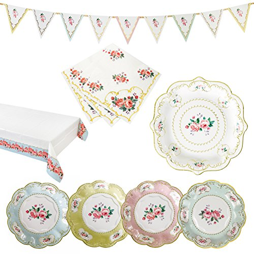Garden Chintz - Talking Tables Truly Chintz Vintage Floral Party Bundle for a Garden Tea Party, Bridal Shower & Picnics | Paper Table Cover, Paper Plates, Napkins & Bunting