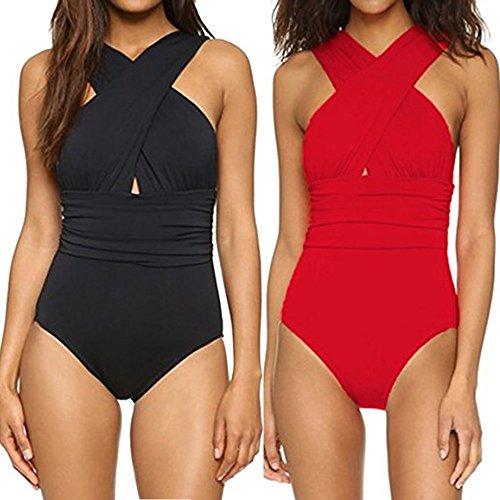 HGWXX7 Women Solid One Piece Front Criss Cross Sexy Backless Swimsuit Bikini