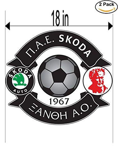 Skoda Xanthi FC Greece Soccer Football Club FC 2 Stickers Car Bumper Window Sticker Decal Huge 18 inches