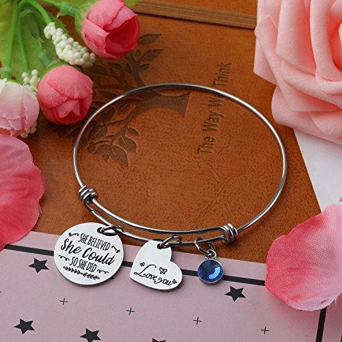 Haoze Birthday Gift Jewelry She Believed She Could So She Did Bangle Bracelet Inspirational Graduation Gift for Girl,Women (Sapphire-september) by Haoze (Image #2)