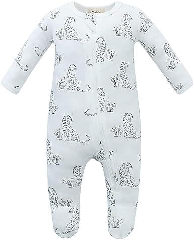 Owlivia Pijama de algodón orgánico con cremallera frontal Sleep N Play, con pies para bebé, pijama de manga larga desde recién nacido hasta 18 meses