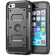 I-Blason Armor Box for Apple iPhone 5C Dual Layer Hybrid Protective Case with Built-in Screen Protector and Impact Resistant Bumpers (Black)