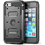 iPhone 5C Case, i-Blason Armorbox for Apple iPhone 5C Dual Layer Hybrid Full-body Protective Case with Front Cover and Built-in Screen Protector and Impact Resistant Bumpers for iPhone 5C (Black)