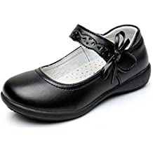 Maxu Girl Uniform Leather Mary Jane Flat Shoes(Toddler/Little Kid/Big Kid)