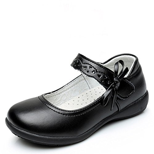 Maxu Girl Uniform Leather Mary Jane Flat Shoes with Side Bow,Little Kid Size 1.5