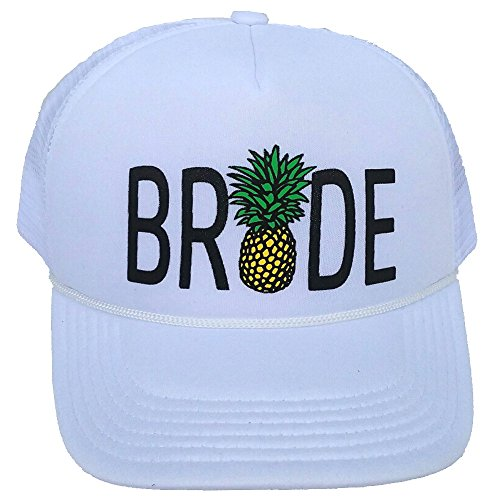 Bride Tribe Pineapple Snapback Mesh Trucker Hat Cap Bachelorette Wedding Team Neon (White BRIDE) Adult /