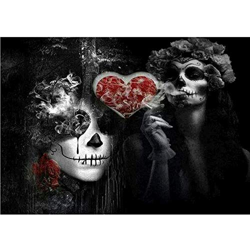Chezaa Scary Devil 5D Diamond Painting Halloween Number Kits - Full Drill Diamond Embroidery Paintings Rhinestone Arts Craft Adults Kids - Horror Skeleton Design (40X30cm) (Multicolor) for $<!--$2.99-->