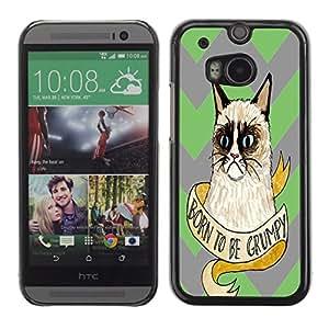 - Chevron Grumpy Cat - - Monedero pared Design Premium cuero del tir¨®n magn¨¦tico delgado del caso de la cubierta pata de ca FOR HTC M8 One 2 Funny House