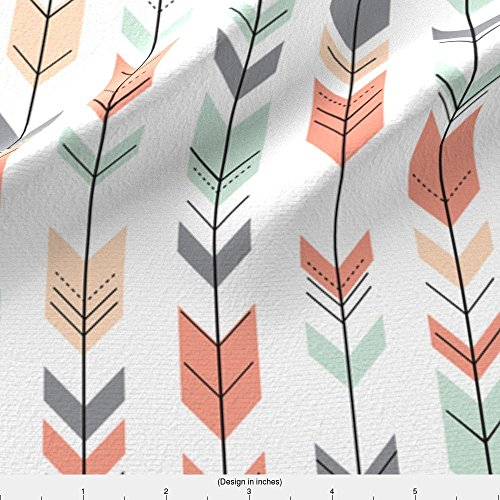 Arrows Fabric Fletching Arrows // Small Scale // Coral,Grey,Mint,Peach by Littlearrowdesign Printed on Basic Cotton Ultra Fabric by the Yard by Spoonflower