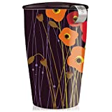 Tea Forte KATI Single Cup Loose Leaf Tea Brewing System, Insulated Ceramic Cup with Improved Tea Infuser and Lid, Poppy Fields