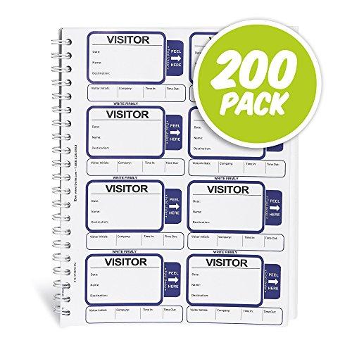 (ID Card Pros Visitor Log Book - Spiral-Bound Self Expiring Visitor Badges - Carbon Copy - 200)