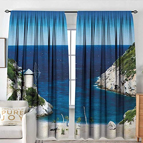 Petpany Blackout Curtains Beach,Rocky Sandy Cove North of The Old Town Alonissos Calm Seascape Idyllic Scenery,Blue White Green,for Bedroom,Nursery,Living Room ()