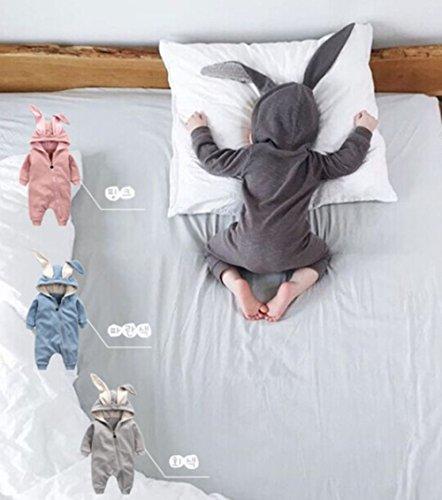 Winter Warm Baby Boys Girls Rabbit 3D Ear Zipper Hooded Romper Jumpsuit Outfits size 3-6Months/66 (Grey)