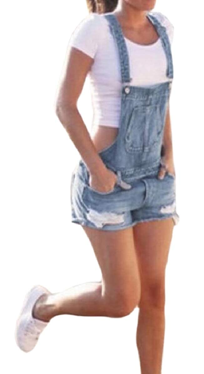 RRINSINS Women Jeans Shorts Denim Casual Ripped Hole Overalls