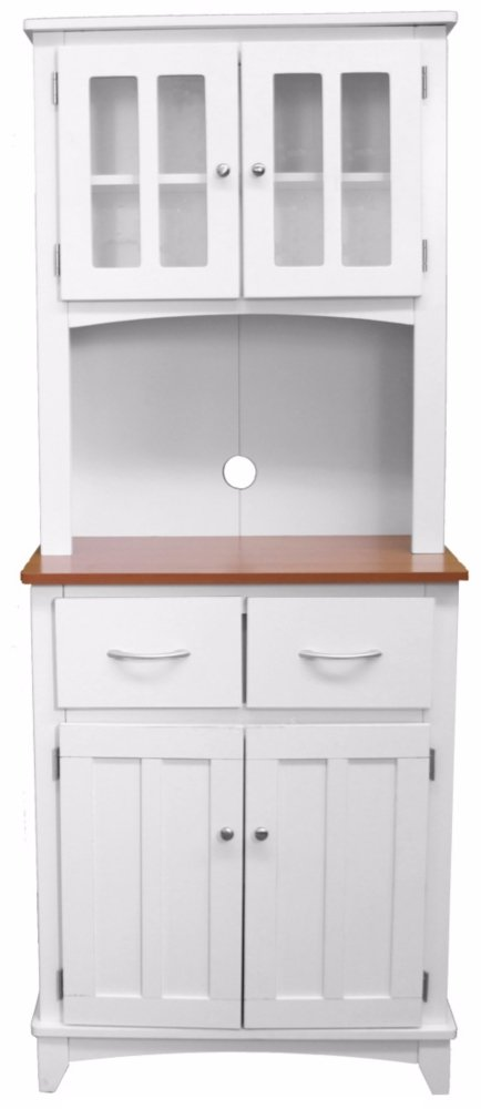 Amazon.com: Oak Hills Tall White Microwave And China Cabinet: Kitchen U0026  Dining