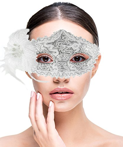 Sexy Women Costume Masquerade Mask With Flower For Halloween, Mardi Gras, Holiday Parties, School Dance and Balls, Silver White -