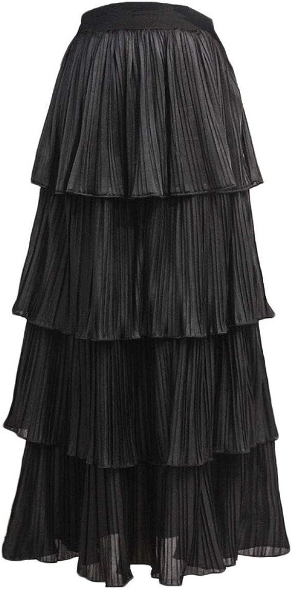 LiangZhu Falda Mujer Pastel para Maxi Cintura Alta Faldas Plisada ...