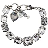 "Mariana ""On A Clear Day"" Silver Plated Crystal Rectangle Tennis Bracelet with Heart Pendant"