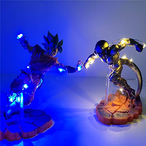 Dragon Ball Figure Son Goku God VS Golden Frieza Led DIY Night Light Collectible Action Figures Dragon Ball Super Toy 2pcs/Set