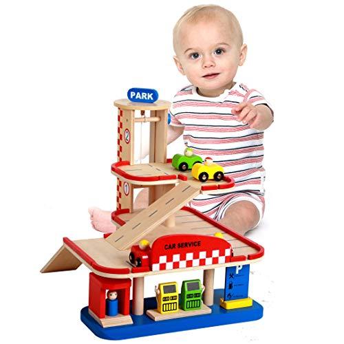WDXIN Juguete de casa Juegos niños Educativo Juguete de casa de Juegos para niños Estacionamiento Tridimensional de Madera...
