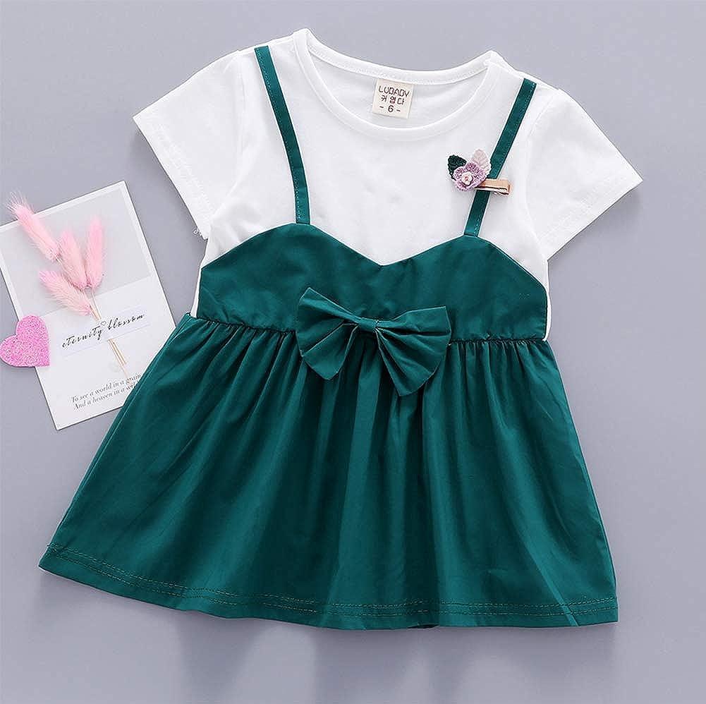 Douhoow Toddler Baby Girl Infant T-Shirt Dresses Short Sleeve Overalls Skirt Outfits