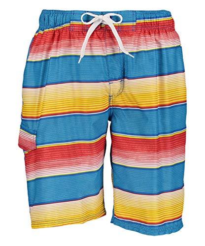 Kanu Surf Men's Legacy Swim Trunks (Regular & Extended Sizes), Pipeline Blue/Orange, Medium