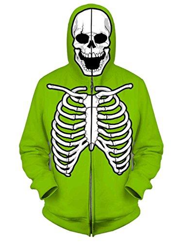 [FSD Boys Green Skeleton Full Zip Costume Hoodie Halloween Sweatshirt L] (Boys Skeleton Sweatshirt Hoodie Costumes)