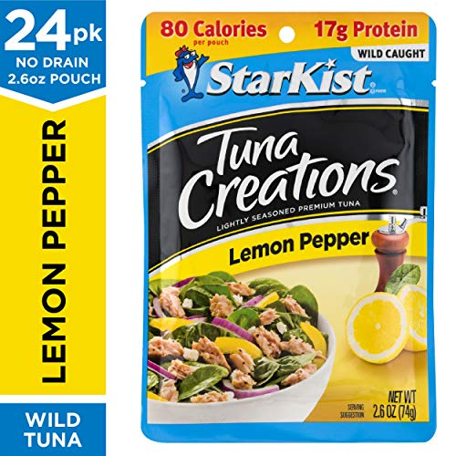 StarKist Tuna Creations, Lemon Pepper, 2.6 oz. Pouch, Pack of 24 - Ready to Eat Tuna Pouches - Works for Keto, Mediterranean and Weight Watchers Diet Plans (Packaging May Vary) (Tuna Creations Lemon)