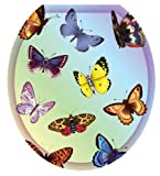 Toilet Tattoos TT-1022-R Butterfly Dreams Decorative Applique For Toilet Lid, Round