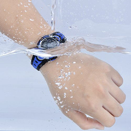 AZLAND Waterproof Swimming Led Digital Sports Watches for Children Kids Girls Boys,Rubber Strap,Blue by AZLAND (Image #2)
