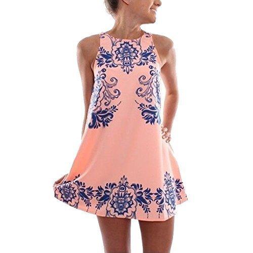 PinRoad Women Sleeveless Round Neck Porcelain Print Chiffon Dress,Pink
