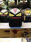 Gosweet Premium Leather BAG BUG Fur Monster Mini BACKPACK charm Handbag key ring Zip Pocket Coin with Black Gift Box Multi Colors Availbale (black/pink)