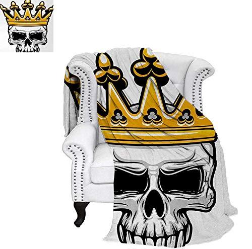 (Print Artwork Image Hand Drawn Crowned Skull Cranium with Coronet Tiara Halloween Themed Image Warm Microfiber All Season Blanket 90