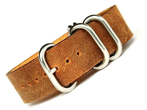 time+ 20mm 5-Ring NATO Zulu Leather Military Watch Strap Vintage (Time Brown Leather)