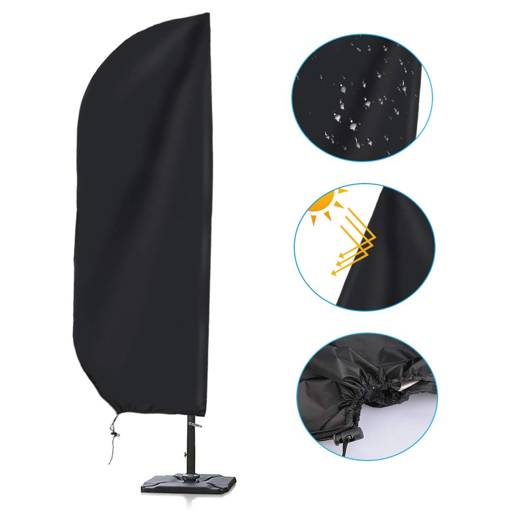Andbby Cantilever Parasol Cover with Zip Strong and Durable Premium High Grade Waterproof UV Furniture Cover Garden Umbrella Cover Black (205 cm, 57 * 48 * 25cm)
