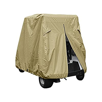 Summates Golf Cart Cover, Fits Yamaha Drive, EZ Go,Club Car Precedent,Color Tan, Dark Gray