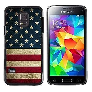 FECELL CITY // Duro Aluminio Pegatina PC Caso decorativo Funda Carcasa de Protección para Samsung Galaxy S5 Mini, SM-G800, NOT S5 REGULAR! // Flag States United Red White Blue