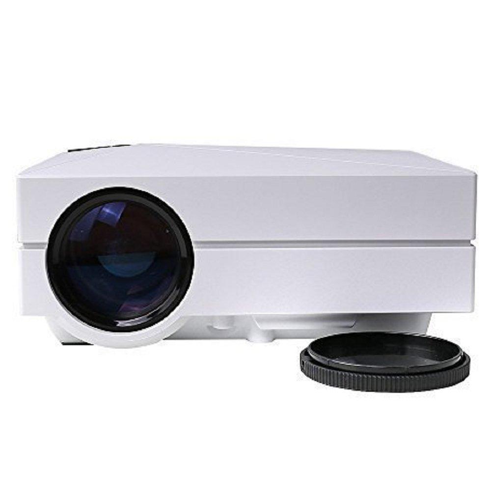 Puronic Video Projector LCD LED Full Color Max 130'' Mini Portable 1080P Home Cinema Theater Multimedia Projector Support HD PC USB HDMI AV VGA for Video Movie Child Games Entertainment (white)