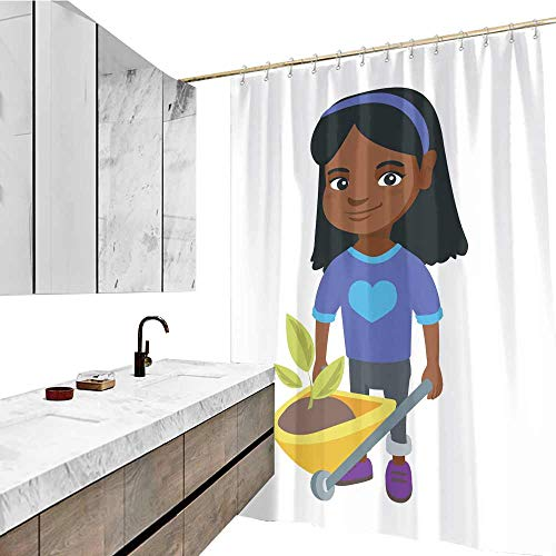 Heavy Duty Curtain Liner, Girl Pushing Wheelbarrow with Soil and Plant Pattern, W63 xL72, for Bathroom Showers and Bathtubs
