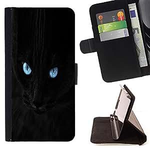 BullDog Case - FOR/Samsung Galaxy S4 IV I9500 / - / Blue Eye Black Cat /- Monedero de cuero de la PU Llevar cubierta de la caja con el ID Credit Card Slots Flip funda de cuer