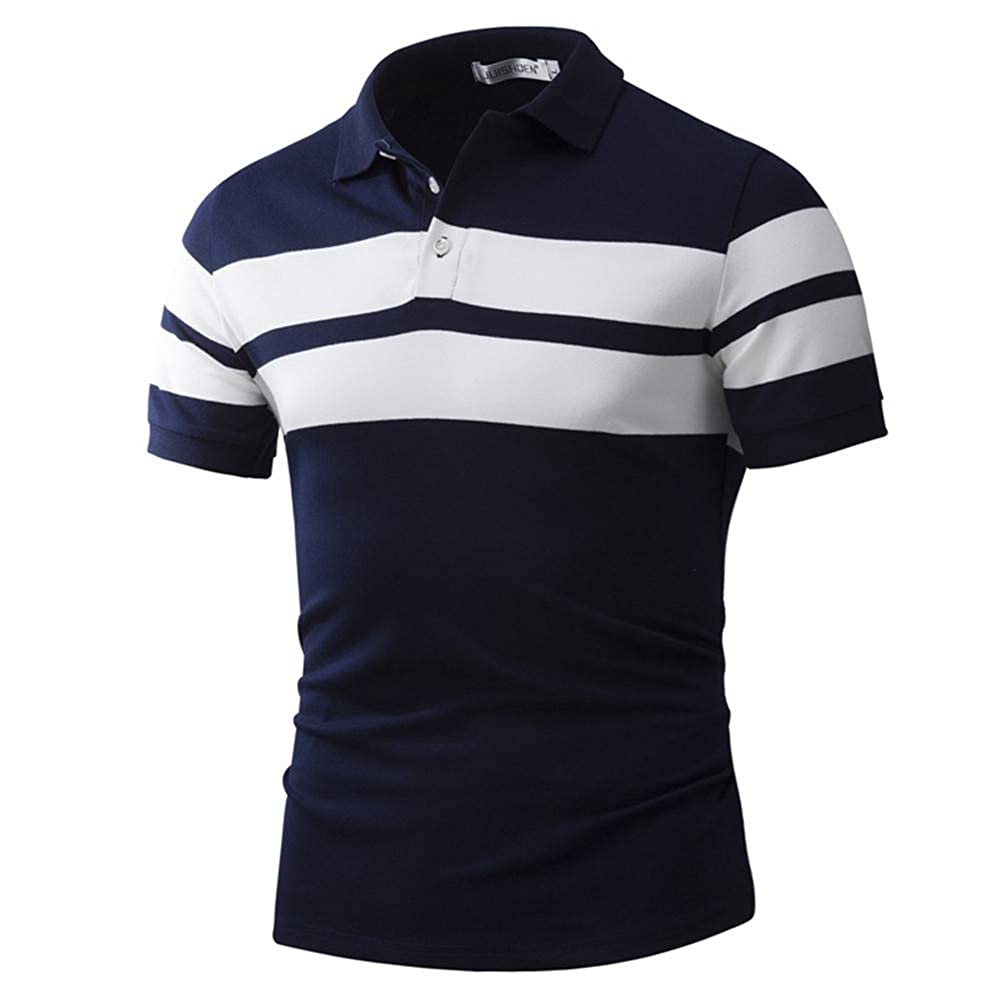 LILINY Mens Classic Short Sleeve Auto Stripe Pique Polo