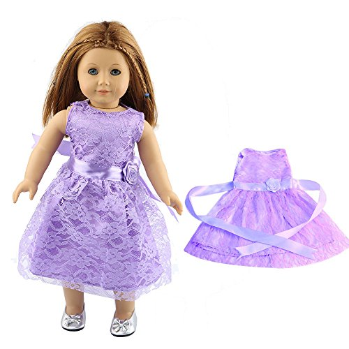Little Ladies Party Evening Doll Dress, Lace Skirt for 18 inch Our Generation American Girl Doll -