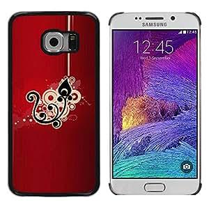 Cubierta protectora del caso de Shell Plástico || Samsung Galaxy S6 EDGE SM-G925 || Black Drawing Pattern Floral @XPTECH