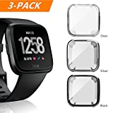 Fitbit Versa Case, 3 PACK Belyoung Soft TPU Slim Fit Full Cover Screen Protector for Fitbit Versa Smartwatch