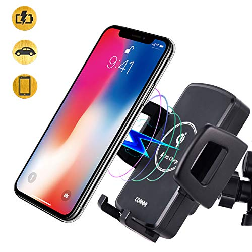 CORNMI Wireless Car Charger Qi Car Charger Car Phone Mount Air Vent Phone Holder for Car Compatible for iPhone Xs MAX/XR/XS/X/8/8 Plus Samsung Galaxy S9/8/7/Note 9/8 & Qi Enabled Devices – Black