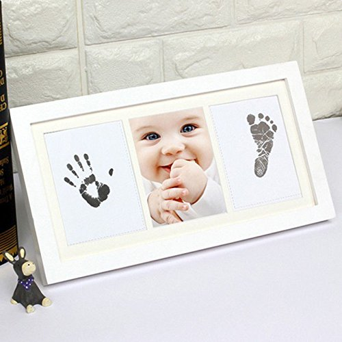 New Born Baby Shower Gifts Set Handprint and Footprint Photo Frame Unique Gift Box Babies Boy Girl Birthday 1st Announcements Scan Novelty Booth Personalised Really Good